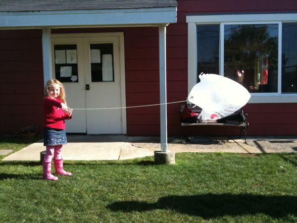 Kite flying at Millbrae Nursery School