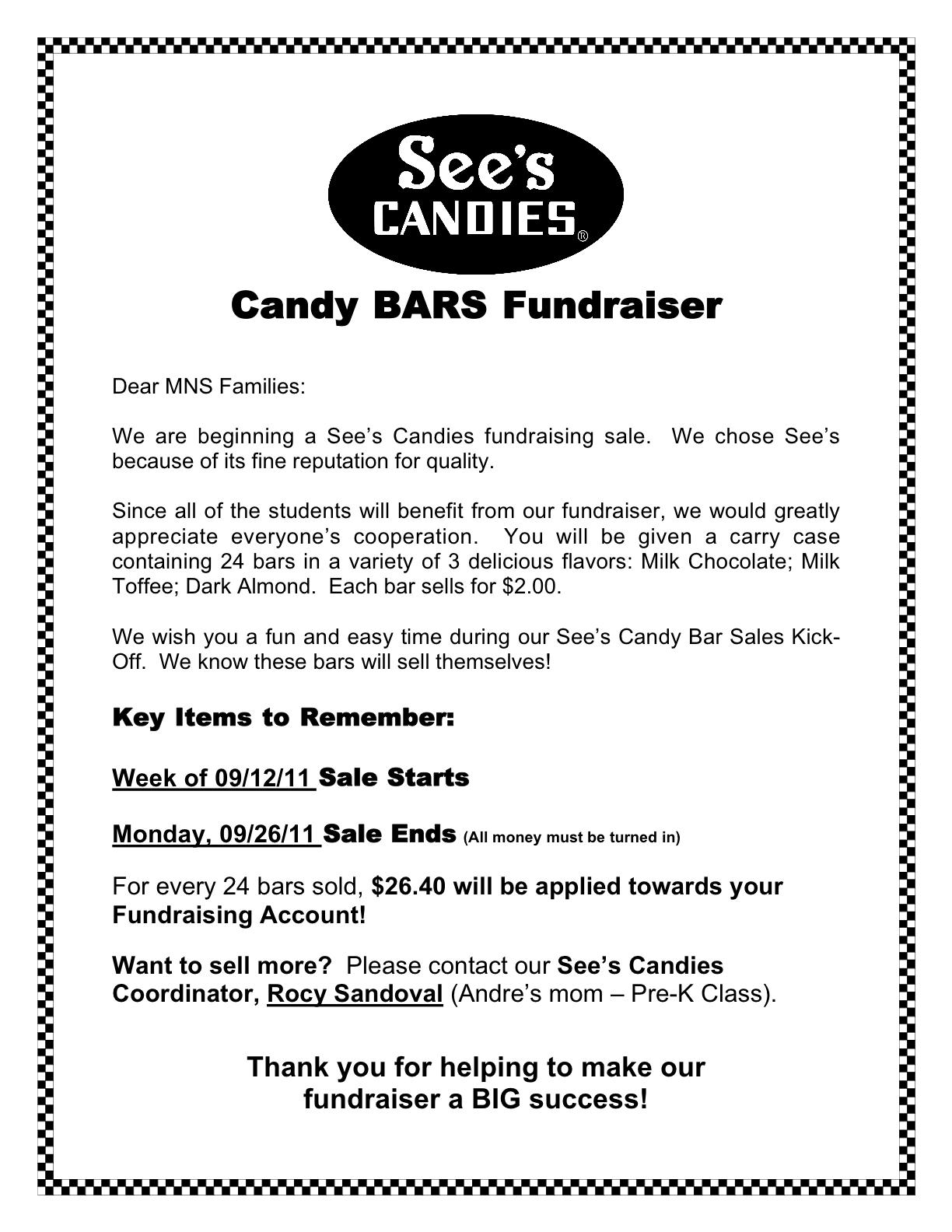 See's Candy Bars Fundraiser – Millbrae Nursery School