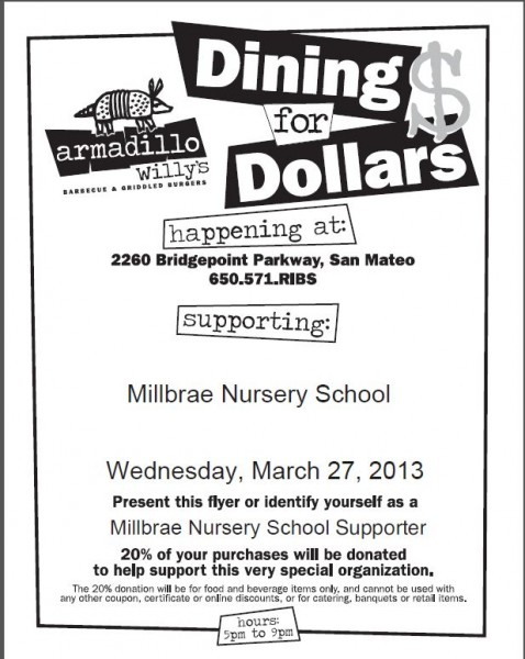 Dining for Dollars - Fundraiser at Armadillo Willy's