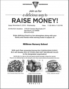 BJ's Restaurant Helps MIllbrae Nursery School Fundraise!